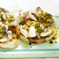Buffalo mozzarella with anchovies, olives and capers on sourdough recipe