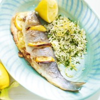Roast sea bass with wild rice and lemon recipe