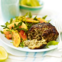 Coriander and lemongrass pork burgers with rocket and papaya salad recipe