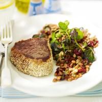 Fillet steak with spelt, orange and walnut salad recipe