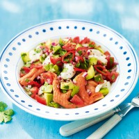 Salmon and scallop ceviche with avocado and lime recipe