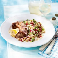 Lamb fillet with chickpea and pomegranate couscous, and harissa dressing recipe
