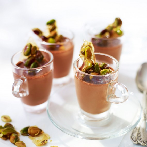 White Tea-Infused Chocolate Pots with Pistachio Toffee Recipe