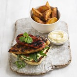 Chicken and chorizo open burger with garlic mayo recipe