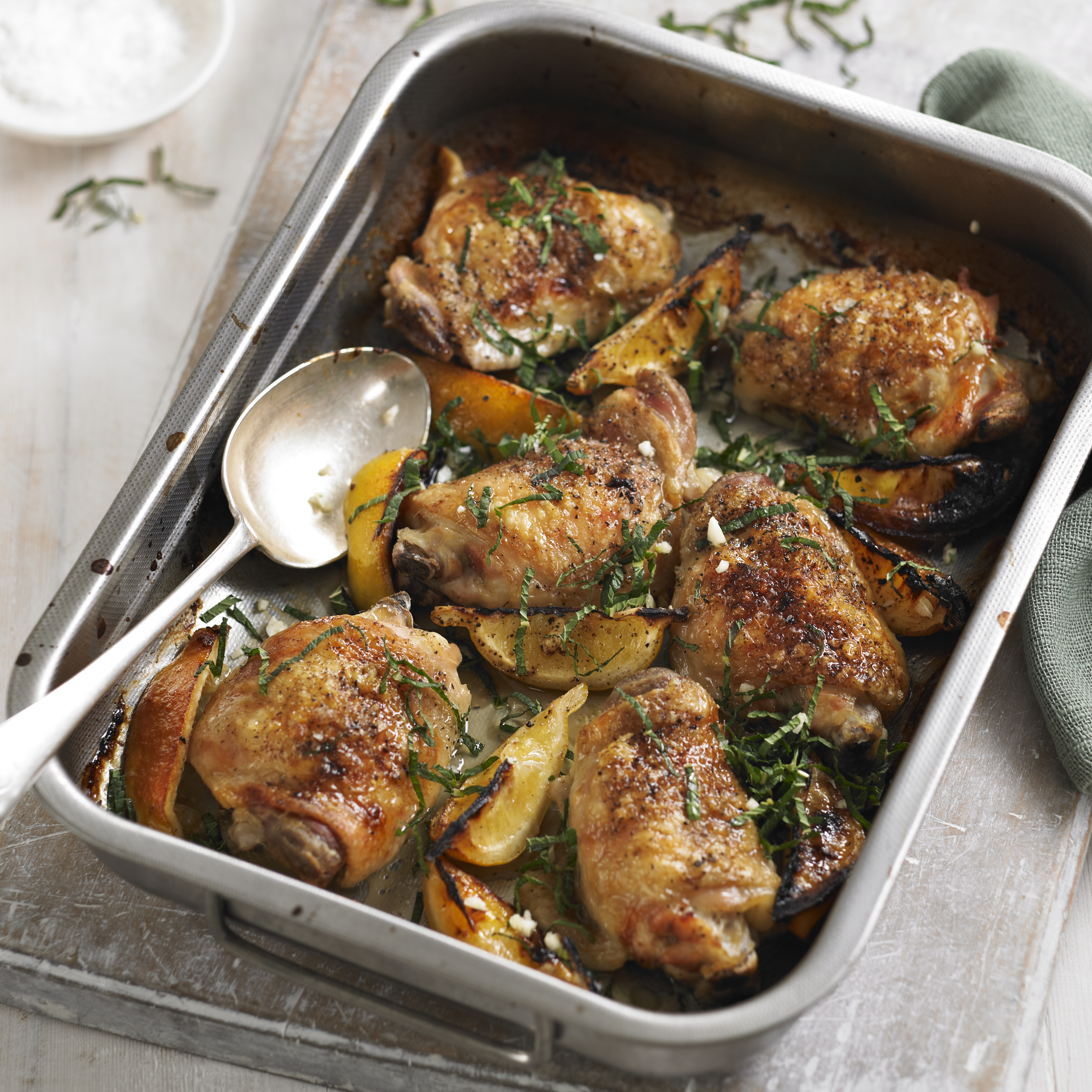 Roast Chicken Thighs with Lemon and Mint - Woman And Home