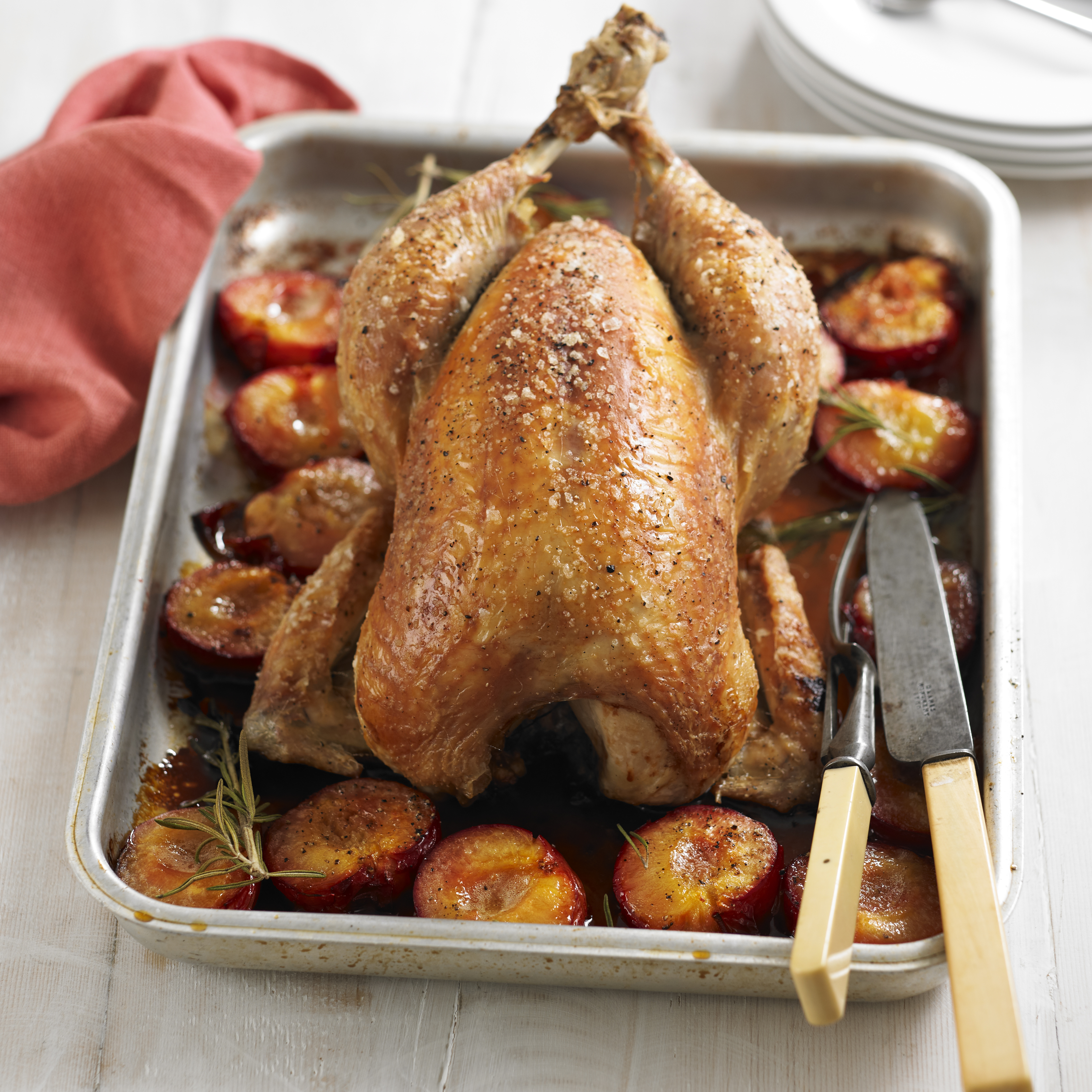 Roast chicken with sticky plums woman and home for Roast chicken uk