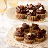 Mini brownie cupcakes with ganache topping recipe