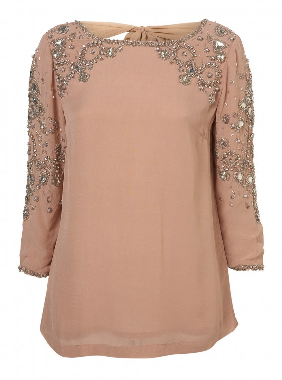 Topshop embellished v back blouse 163 70