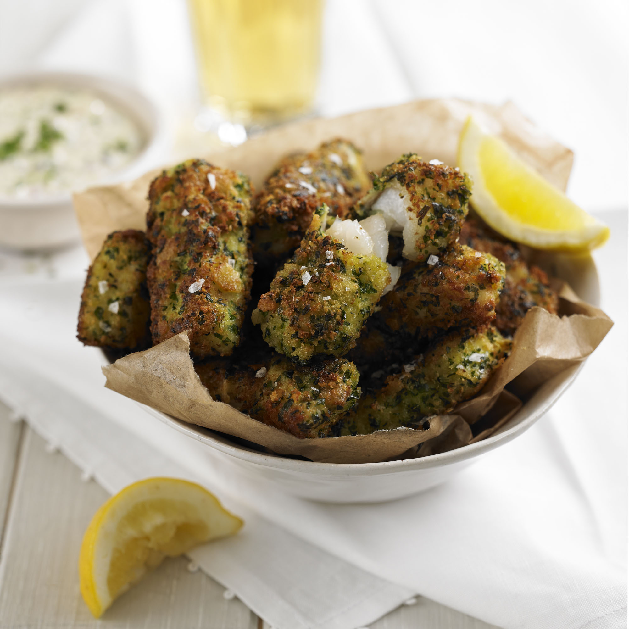 Fish goujons with a gremolata crust and homemade tartare for Homemade fish food