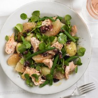 Trout salad with grapefruit, watercress and black olive dressing recipe