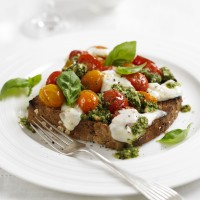 Roast tomato & mozzarella sandwich with basil and pesto recipe