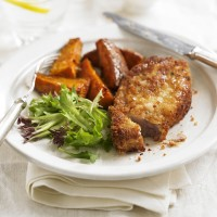 Parmesan Pork with Paprika Sweet Potato Wedges