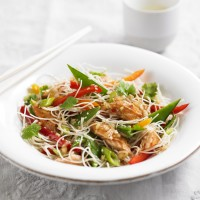Rice Noodle Salad with Hot Smoked Salmon