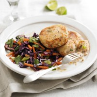 Salmon and ginger fishcakes with rainbow salad recipe