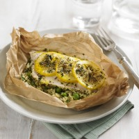 Sea bass fillet parcels with lemon couscous recipe