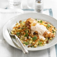 Spiced chicken with fruity couscous &amp; yogurt dressing recipe