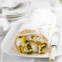 Passionfruit &amp; mango meringue roulade recipe