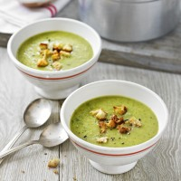 Courgette and basil soup with parmesan croutons recipe