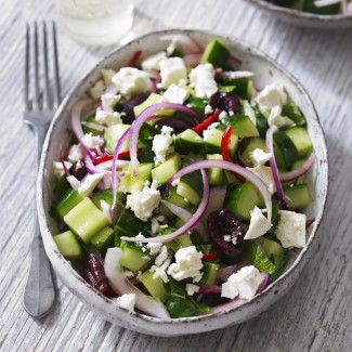 Cucumber salad with feta, black olives and mint recipe