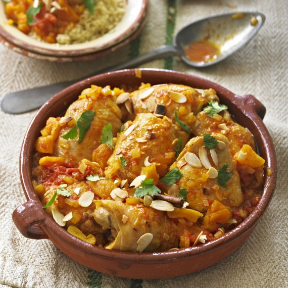 Moroccan Spiced Chicken with Tomatoes, Saffron and Apricots - Woman ...
