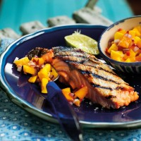 Charred salmon fillets with mango salsa recipe