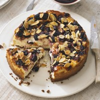 Baked dark cherry and almond cheesecake recipe