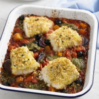 Crispy cod tray bake recipe