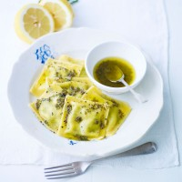 Spinach and goats cheese ravioli with lemon and sage butter recipe