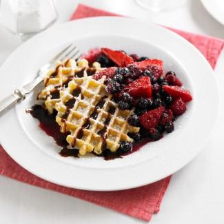 Boozy berry waffles recipe