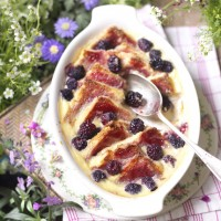 Summery berry bread and butter pudding