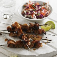 Sweet chilli chicken skewers with pickled slaw recipe