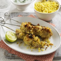 Coconut coated chicken kebabs with raitha recipe