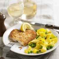 Chicken schnitzel with noodles recipe