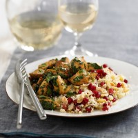 Coriander Chicken with Pomegranate and Almond Couscous Recipe