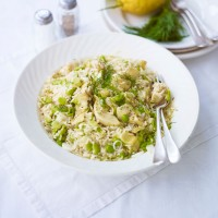 Brown rice salad with broad beans, artichokes and dill recipe