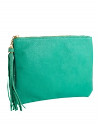 Accessorize Suede Tassel Zip Top Clutch