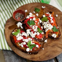 Red pepper and feta bruschetta