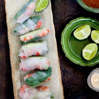 Vietnamese prawn and mint rice paper rolls with sweet chilli sauce