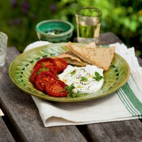 Fresh Goats' Cheese with Roasted Tomatoes and Crispy Pitta