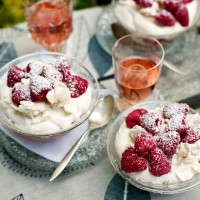 Raspberry meringue trifles