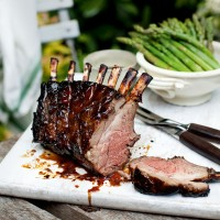 Sticky rack of lamb with mint