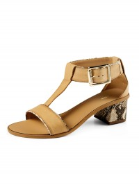 Dune Fenton D Snakeskin Block Heel Sandal