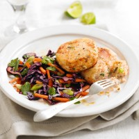 Salmon and ginger fishcakes with salad