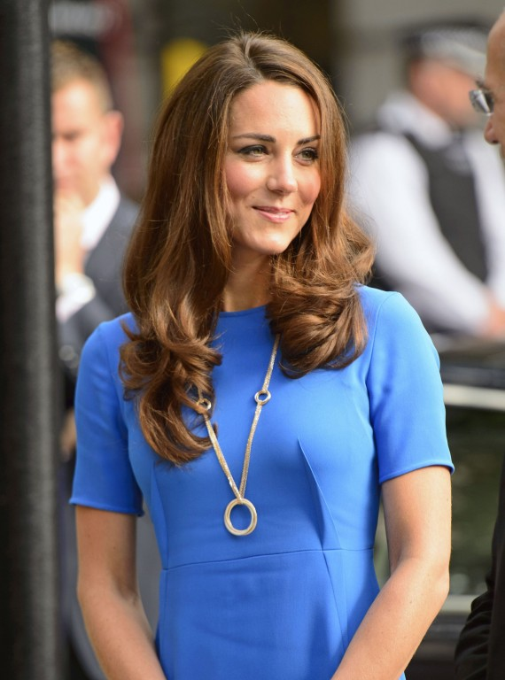 Kate Middleton in blue with gold necklace July 2012