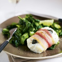 Baked Cod and Bacon with Sage and Greens