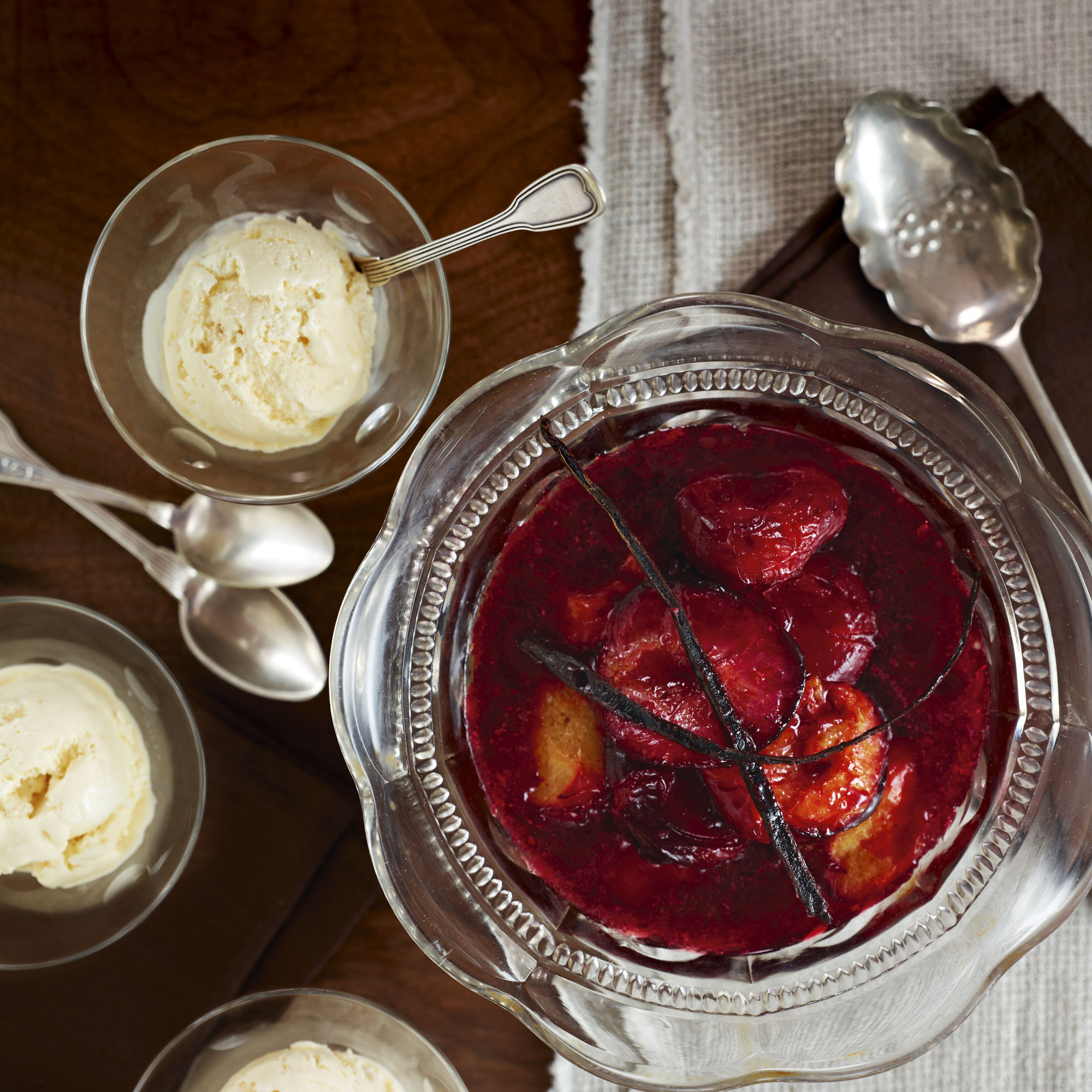 Real Vanilla Ice Cream with Roasted Plums - Woman And Home