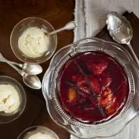 Real vanilla ice cream with roasted plums