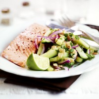 Hot smoked salmon with hot cucumber salad