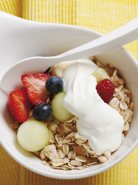 Yoghurt, granola and fruit breakfast bowl-boost your metabolism