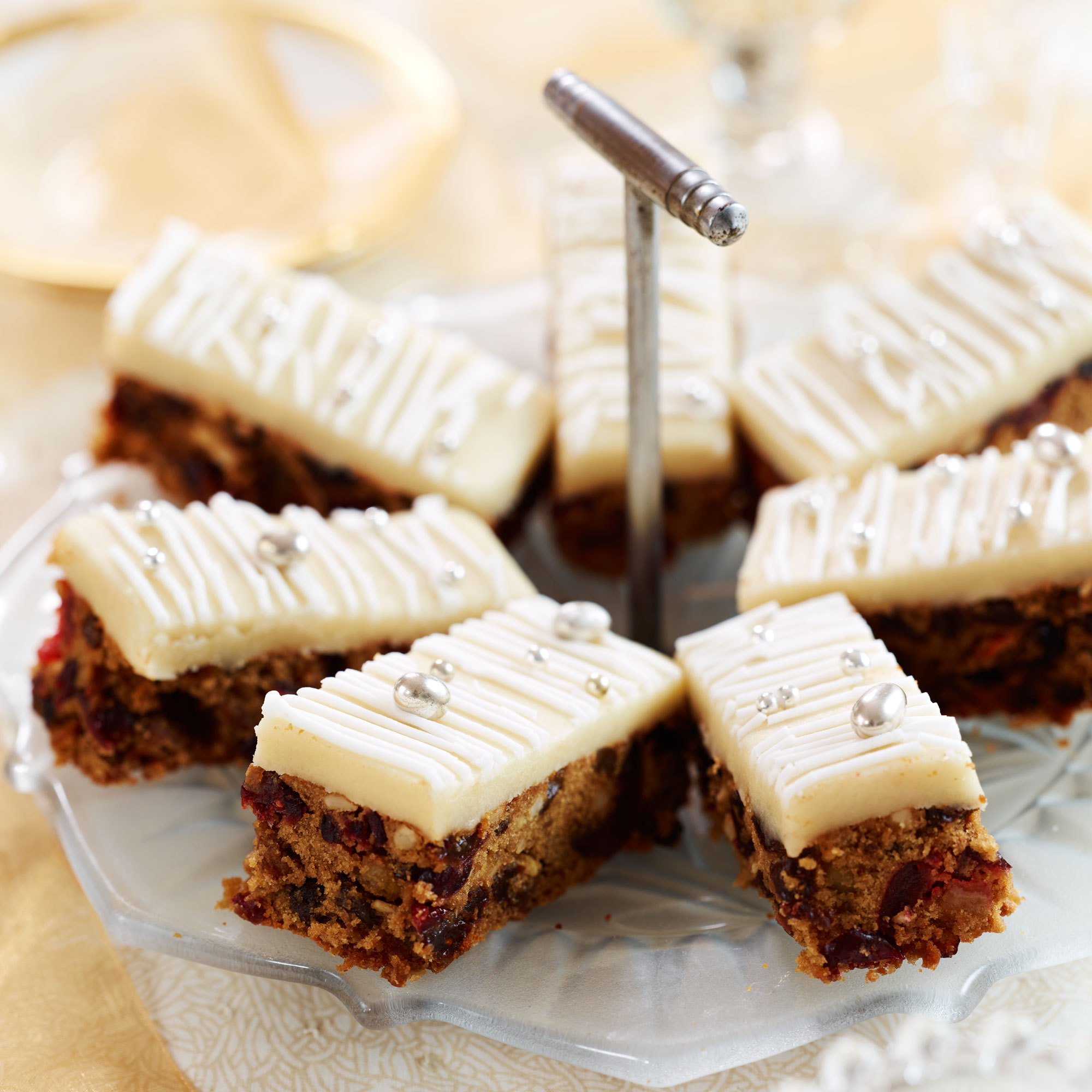 Christmas Cake Iced Slices